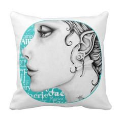 This ethereal Throw Pillow features a hand sketched fairy I named Evangelina. I created her when I was recovering from a foot surgery. She, and many others, were my Art Therapy. There are many fairy words on a dark turqoise background. See more of my digital art and papers at www.IrrationalArts.etsy.com