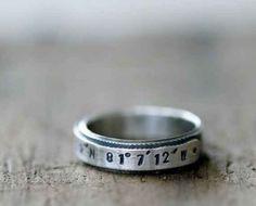 Custom Stamped Latitude Longitude Ring, $86