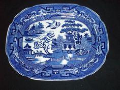 Allertons Blue Willow 13 inch platter vintage
