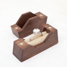 Double Mountain ring box, made from walnut . . . . . . #weddings #wedding #ring #rings #engagement #engaged #box #woodworking #wood…