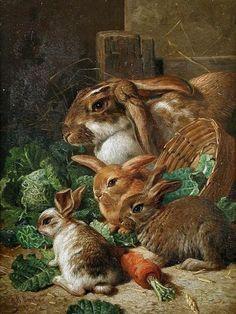 """A Rabbit Family with Carrots & Cabbages"" by Alfred Richardson Barber English Painter of Animals . Art And Illustration, Rabbit Illustration, Lapin Art, Photo D Art, Rabbit Art, Bunny Art, Animal Paintings, Mammals, Folk Art"