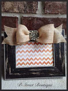Distressed picture frames, Burlap rosettes and Burlap on Pinterest