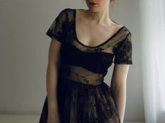 black, evening, dress, lace, style, fashion