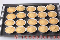 Gräddade mazariner Baking Recipes, Tea Time, Goodies, Pudding, Ethnic Recipes, Sweet, Desserts, Food, Cooking Recipes
