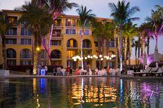 A romantic first dance by the pool #DreamsLosCabos #Mexico #Destinationwedding