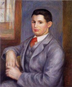 Young Man in a Red Tie, Portrait of Eugene Renoir - Pierre-Auguste Renoir