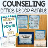 School Counseling Office Decor Bundle Office decorations have a high impact o. School Counselor Office, Counseling Office Decor, Office Themes, School Counseling, Office Decorations, Book Bin Labels, Catchy Phrases, Pennant Banners, Character Education