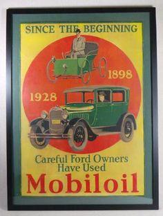 Vintage Advertising Mobiloil Sign Cardboard Ford Autos