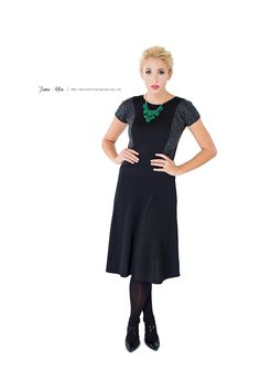 The Katy Dress $51.99   www.JUNIEblake.com Modest dress, Little Black Dress, Cheetah Fabric