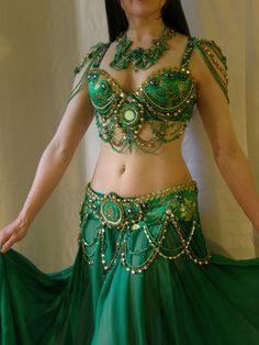 Reduced  On Sale Belly Dance green costume by totallycreativeny, $375.00