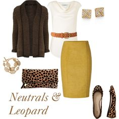 """""""Neutrals and Leopard"""" by rosebude on Polyvore. Mustard yellow pencil skirt, leopard flats and clutch, brown cardigan, gold accessories. Modest office outfit."""