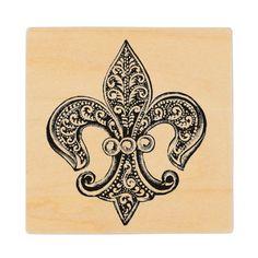 Vintage Black and White Lacy Fleur De Lis Wood Coaster