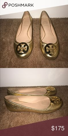 Tory Burch Gold Reva flat Gold Flats, only worn a handful of time Tory Burch Shoes Flats & Loafers