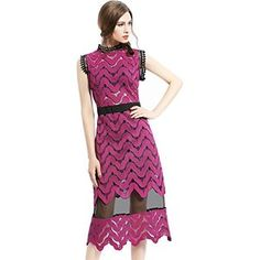 Tuliplazza Women Zigzag Tunic Sheath Cocktail Prom Party Gowns Midi Lace Dress