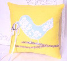 Love Bird Wedding Ring Bearer Pillow Modern by vintagegreenlimited