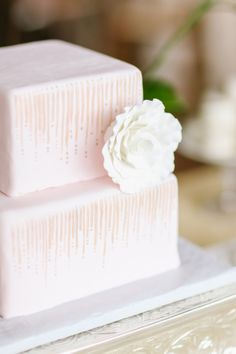 Square Pink Wedding Cake | photography by http://jennahenderson.com
