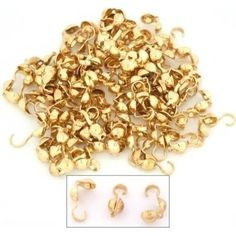 Bead Tips Clamshell Gold Plated Bead Stringing Parts