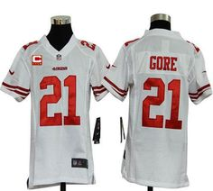 Nike 49ers #21 Frank Gore White With C Patch Youth Embroidered NFL Elite Jersey! Only $23.50USD
