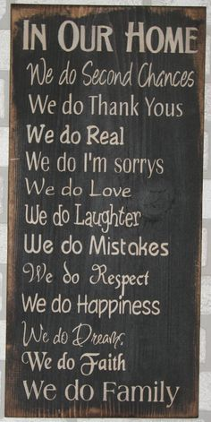 In Our Home Family Rules Wood Sign by HeartlandSigns on Etsy