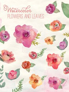 Watercolor Flowers - Clip Art via Etsy.