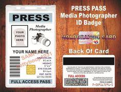 nice Press Pass ID Badge / Card - {Custom Printed w Your Photo & Info} - Photographer   Check more at http://harmonisproduction.com/press-pass-id-badge-card-custom-printed-w-your-photo-info-photographer/