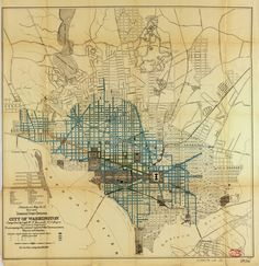 Historic Map Of Washington Dc 1916 My House Birds Eye View