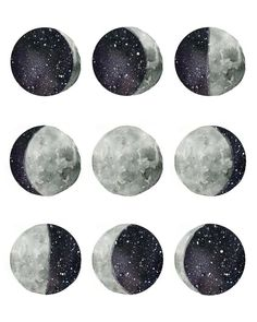 """Artistically interpreted phases of the moon. Original hand painted watercolor design Comes in size 8x10""""Printed with high quality inks on watercolor textured paper"""