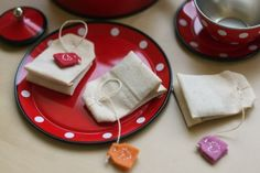 Ack, another cute idea from Probably Actually.   Play tea bags!