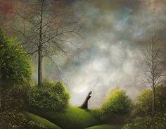 Philippe Fernandez 20 x 16 Original Painting Fantasy Gothic Landscape Cat Moon | eBay