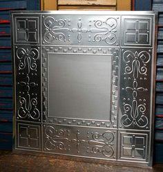 "12"" Vintage Galvanized Metal Embossed Checks Ceiling Tile"