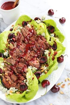 Grilled Steak Salad with Cherry-Chipotle Balsamic Vinaigrette from afarmgirlsdabbles.com: