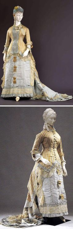 "This seems to be the same dress, but in the first picture, there is a pale blue insert on the bodice using (apparently) the same material as the skirt & cuffs. The Costume Gallery of the Pitti Palace in Florence says this is a wedding dress made in Naples between 1876 & 1878 (photo: Marcello Bertoni). The picture on the bottom was taken by a tourist, Joseph Hilsey, for his blog, Material World, and is described as ""Yellow and cream striped silk over pale blue underskirt, ca. 1878."""