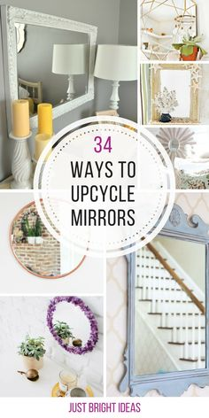 - Mirror Designs - 34 Gorgeous Mirror Makeover Ideas You Need to See So many ways to upcycle an ugly mirror into something stunning! Thanks for sharing! Mirror Makeover, Diy Mirror, Mirror Ideas, Old Mirror Crafts, Dresser Mirror, Refurbished Mirror, Recycled Mirrors, Old Mirrors, Wall Of Mirrors