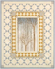 """Trail's End"" quilt designed by Robert Kaufman. Features Sound of the Woods. Shadow colorstory. FREE pattern."
