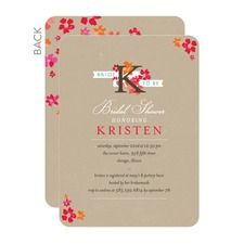Initial Blooms Bridal Shower Invitations