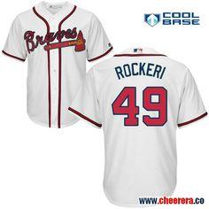 Men s Atlanta Braves  49 John Rocker Retired White Home Stitched MLB  Majestic Cool Base Jersey 599edd2d6