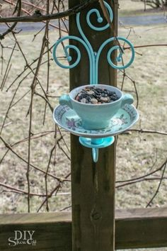 DIY tea cup candle sconce bird feeder tutorial ----- My Comment: Could put an LED light in, for out front, too!