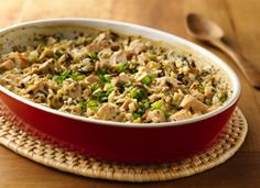 Wild Rice & Turkey (or chicken) Casserole - only 180 calories a serving. I would swap the onions for green beans!