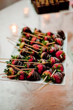 chocolate covered strawberries  On a stick no less! Totally makes sense!