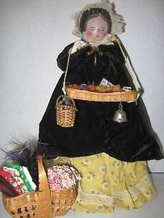Antique Wooden Peg Doll, German Grodnertal Doll with Sewing Baskets.