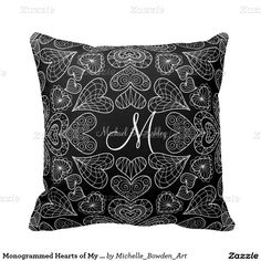 Monogrammed Hearts of My Heart Pillow