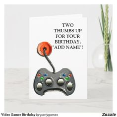 Shop Video Gamer Birthday Card created by partygames. Cute Happy Birthday Wishes, Send Birthday Card, Birthday Verses For Cards, Unique Birthday Cards, Funny Birthday Cards, It's Your Birthday, Birthday Invitations, Game Happy, Gifts For Brother