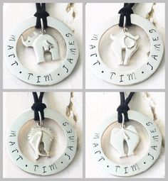 Sterling silver personalised hoop pendants with rhino, elephant, lion and buffalo charms in centre Personalised Jewellery, Meringue, Sterling Silver Jewelry, Buffalo, Washer Necklace, Hoop, Centre, Charms, Elephant
