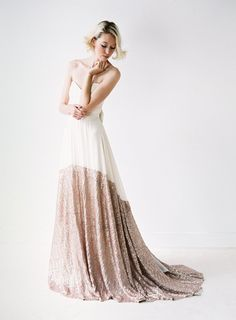 Sierra // A Modern Chiffon and Rose Gold Sequinned Wedding Dress by Truvelle on Etsy