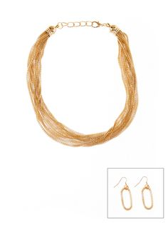 Rainbow Shops Draped Chain Necklace and Earrings Set $5.99