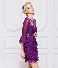 Half Sleeve Vintage Silk Dress White Purple Black