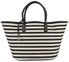 Pin for Later: Diese Taschen warten auf den nächsten Strandausflug Charlotte Ronson Striped Tasche Charlotte Ronson Drawcord Black Tote ($148)