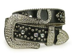 Snap on Western Rhinestone Silver Circle Studs and Horseshoes Decoration Genuine Leather Belt $78.99