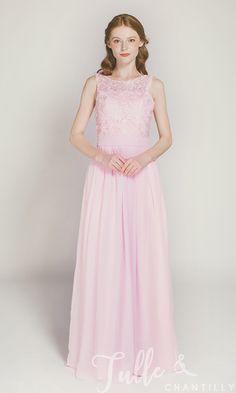 Long Blush Chiffon and Lace Bridesmaid Dress TBQP227 click for 40+ colors
