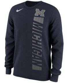 Nike Men's Michigan Wolverines Football Momentum Long Sleeve T-Shirt - Blue XXL